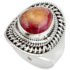 Clearance Sale- 6.80cts natural pink bio tourmaline 925 silver solitaire ring size 6.5 d38901