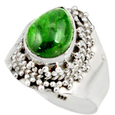 Clearance Sale- 4.25cts natural green chrome diopside 925 sterling silver ring size 7.5 d38908