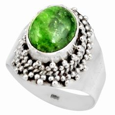 Clearance Sale- 4.27cts natural green chrome diopside 925 sterling silver ring size 7.5 d38912