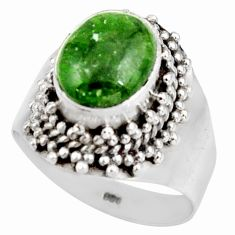 Clearance Sale- 4.27cts natural green chrome diopside 925 sterling silver ring size 7 d38914