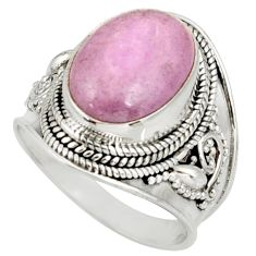 6.26cts natural pink kunzite 925 sterling silver ring jewelry size 7.5 d38917