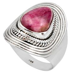 Clearance Sale- 5.01cts natural pink bio tourmaline 925 sterling silver ring size 7 d38920