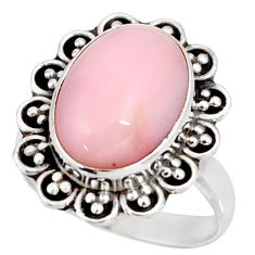 Clearance Sale- 6.36cts natural pink opal 925 sterling silver solitaire ring size 7 d38923