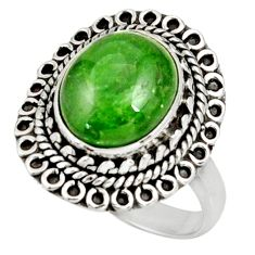 Clearance Sale- 5.37cts natural green chrome diopside 925 silver solitaire ring size 8 d38933