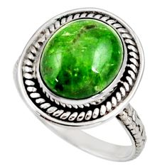 Clearance Sale- 925 silver 5.09cts natural green chrome diopside solitaire ring size 8 d38934