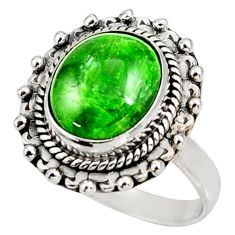 Clearance Sale- 5.31cts natural green chrome diopside 925 silver solitaire ring size 7.5 d38936