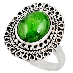 Clearance Sale- 5.71cts natural green chrome diopside 925 silver solitaire ring size 9 d38937