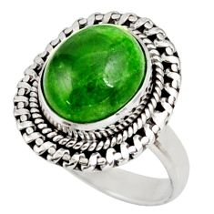 Clearance Sale- 5.53cts natural green chrome diopside 925 silver solitaire ring size 7.5 d38939