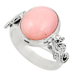 Clearance Sale- 5.27cts natural pink opal 925 silver seahorse solitaire ring size 6.5 d38947