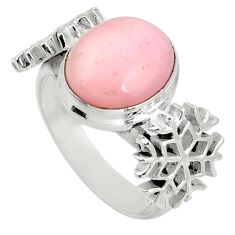 Clearance Sale- 5.50cts natural pink opal 925 silver snowflake solitaire ring size 8 d38948