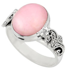 Clearance Sale- 5.31cts natural pink opal 925 silver seahorse solitaire ring size 8 d38951