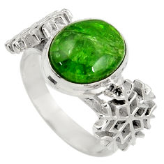 Clearance Sale- 4.91cts natural chrome diopside silver snowflake solitaire ring size 8 d38955