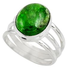 Clearance Sale- 5.29cts natural green chrome diopside 925 silver solitaire ring size 6.5 d38956
