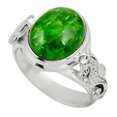 Clearance Sale- 5.75cts natural green chrome diopside 925 silver solitaire ring size 6.5 d38957