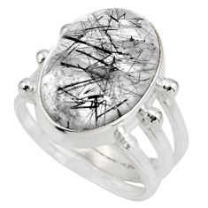 Clearance Sale- 10.23cts natural tourmaline rutile 925 silver solitaire ring size 7.5 d38966