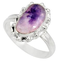 4.69cts natural purple tiffany stone 925 silver solitaire ring size 8 d38971