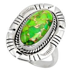 Clearance Sale- 7.99cts green copper turquoise 925 silver solitaire ring jewelry size 8 d38985