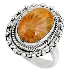 Natural fossil coral petoskey stone 925 silver solitaire ring size 7 d38986