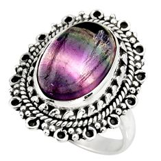 6.80cts natural multi color fluorite 925 silver solitaire ring size 7 d38988