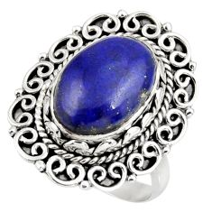 Clearance Sale- 925 silver 6.54cts natural blue lapis lazuli oval solitaire ring size 8 d38990