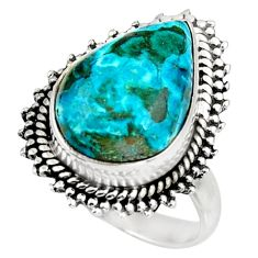 925 silver 9.61cts natural blue shattuckite pear solitaire ring size 6.5 d38995