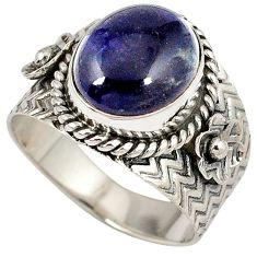 Blue jade oval shape 925 sterling silver flower ring jewelry size 8 j18626