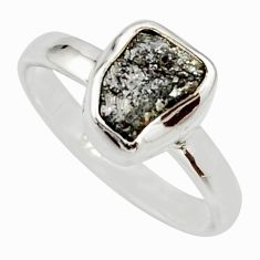 3.32cts natural certified diamond rough 925 sterling silver ring size 7 r16687