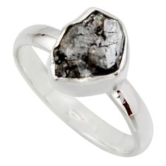 3.58cts natural certified diamond rough 925 sterling silver ring size 8 r16693