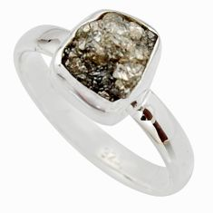 3.59cts natural certified diamond rough 925 sterling silver ring size 8 r16698