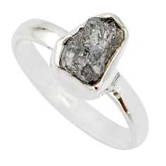 3.59cts natural diamond rough 925 sterling silver solitaire ring size 8 r16709
