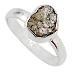 3.32cts natural diamond rough 925 sterling silver solitaire ring size 7 r16710