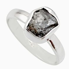 3.15cts natural diamond rough 925 sterling silver solitaire ring size 6 r16712