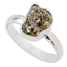 3.59cts natural diamond rough 925 sterling silver solitaire ring size 8 r16713