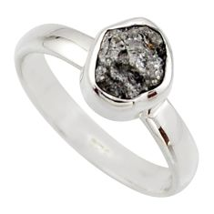 3.18cts natural diamond rough 925 sterling silver solitaire ring size 6 r16720