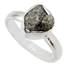 925 silver 3.59cts natural diamond rough fancy solitaire ring size 6 r16723
