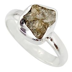 3.59cts natural diamond rough 925 sterling silver solitaire ring size 7 r16730