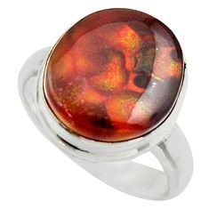 6.53cts natural mexican fire agate 925 silver solitaire ring size 7 r17041