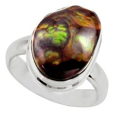 6.04cts natural mexican fire agate 925 silver solitaire ring size 6 r17042