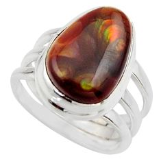925 silver 7.24cts natural mexican fire agate solitaire ring size 6.5 r17044