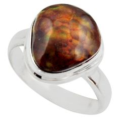 7.12cts natural mexican fire agate 925 silver solitaire ring size 9 r17046