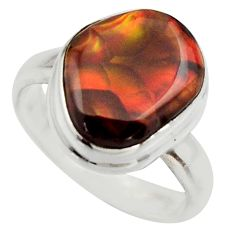 6.04cts natural mexican fire agate 925 silver solitaire ring size 7.5 r17047