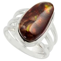 7.51cts natural mexican fire agate 925 silver solitaire ring size 6 r17048
