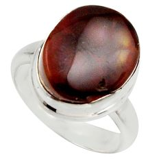 6.84cts natural mexican fire agate 925 silver solitaire ring size 6.5 r17049