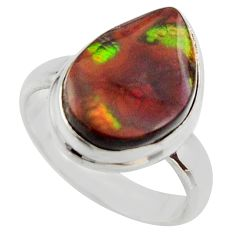 925 silver 6.83cts natural mexican fire agate fancy solitaire ring size 7 r17050