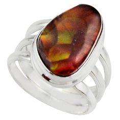 7.24cts natural mexican fire agate 925 silver solitaire ring size 6 r17051