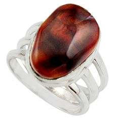 7.76cts natural mexican fire agate 925 silver solitaire ring size 6.5 r17052