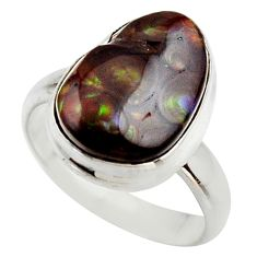 6.83cts natural mexican fire agate 925 silver solitaire ring size 8 r17054