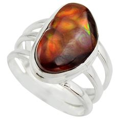 925 silver 7.36cts natural mexican fire agate fancy solitaire ring size 8 r17055