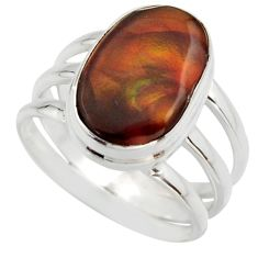 6.89cts natural mexican fire agate 925 silver solitaire ring size 8.5 r17056