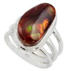 6.89cts natural mexican fire agate 925 silver solitaire ring size 6.5 r17057